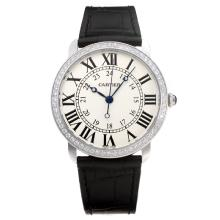 Cartier Classic Diamond Bezel Con White Strap Dial-Leather
