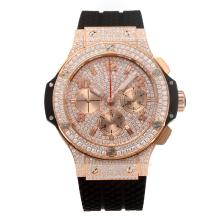 Hublot Big Bang Cronografo Asia Valjoux 7750 Movimento Diamante Cassa In Oro Rosa Con Diamante Dial-cinturino In Gomma-v