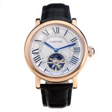 Cartier Classic Tourbillon Automatico Cassa In Oro Rosa Con Quadrante Bianco-Leather Strap-1