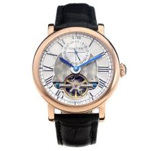 Cartier Classic Tourbillon Automatico Cassa In Oro Rosa Con Quadrante Bianco-Leather Strap