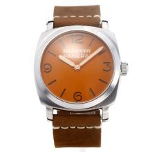 Panerai Radiomir Unitas 6497 Movimento Con Orange Strap Dial-Leather