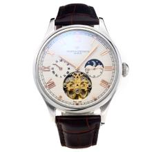 Vacheron Constantin Tourbillon Automatico Rose Con White Strap Dial-Leather