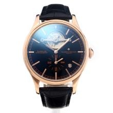 Cassa In Oro Vacheron Constantin Tourbillon Automatico Rose Con Black Strap Dial-Leather