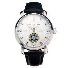 Vacheron Constantin Tourbillon Automatico Con Quadrante Bianco-Leather Strap