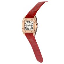 Cartier Santos 100 Movimento Svizzero ETA Cassa In Oro Rosa Con Quadrante Bianco-Red Leather Strap-Vetro Zaffiro