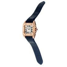 Cartier Santos 100 Movimento Svizzero ETA Cassa In Oro Rosa Con Quadrante Bianco-Blue Leather Strap-Vetro Zaffiro
