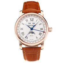 Cassa In Oro Montblanc Classic Automatic Rose Con White Strap Dial-Leather