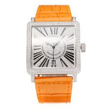 Frank Muller Maestro Piazza Movimento Svizzero Eta 2836 Cassa Del Diamante Con Diamond Dial-Orange Leather Strap-Vetro Z