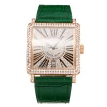 Frank Muller Maestro Piazza Movimento Svizzero Eta 2836 Diamante Cassa In Oro Rosa Con Diamante Dial-Green Leather Strap