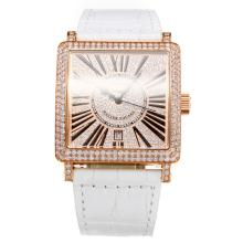Frank Muller Maestro Piazza Movimento Svizzero Eta 2836 Diamante Cassa In Oro Rosa Con Diamante Dial-White Leather Strap