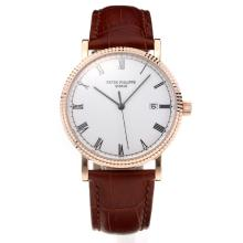 Patek Philippe Calatrava Svizzero ETA 2836 Movimento Cassa In Oro Rosa Con Quadrante Bianco-Leather Strap-Sapphire Glass