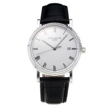 Patek Philippe Calatrava Svizzero ETA 2836 Movimento Con Quadrante Bianco-Leather Strap-Sapphire Glass