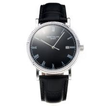 Patek Philippe Calatrava Svizzero ETA 2836 Movimento Rosa Con Quadrante Nero-Leather Strap-Sapphire Glass