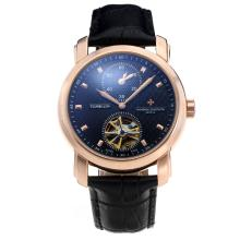 Vacheron Constantin Tourbillon Due Working Time Zone Cassa In Oro Rosa Automatico Con Black Strap Dial-Leather