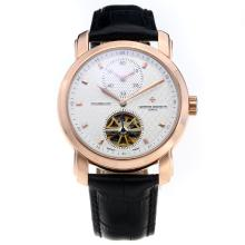 Vacheron Constantin Tourbillon Due Working Time Zone Cassa In Oro Rosa Automatico Con Cinturino Bianco Dial-Leather
