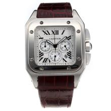 Cartier Santos 100 Chronograph Lavorare Con Quadrante Bianco-Leather Strap