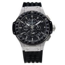 Hublot Big Bang Chronograph Working Cassa Del Diamante Con Quadrante Nero, Cinturino In Gomma