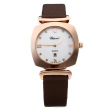 Cassa In Oro Chopard Happy Sport Rosa Con MOP Dial-cinturino In Pelle Marrone