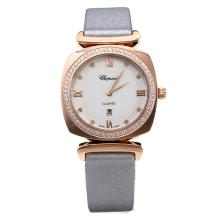 Chopard Happy Sport Cassa In Oro Rosa Diamond Bezel Con MOP Dial-Gray Cinturino In Pelle