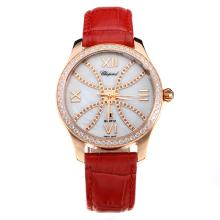Chopard Happy Sport Cassa In Oro Rosa Diamond Bezel Con MOP Dial-Red Cinturino In Pelle