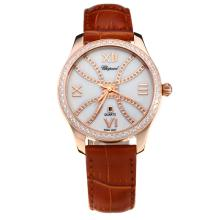 Chopard Happy Sport Cassa In Oro Rosa Diamond Bezel Con MOP Dial-cinturino In Pelle Marrone