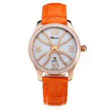 Chopard Happy Sport Cassa In Oro Rosa Diamond Bezel Con MOP Dial-Orange Cinturino In Pelle