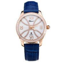 Chopard Happy Sport Cassa In Oro Rosa Diamond Bezel Con MOP Dial-Blue Cinturino In Pelle