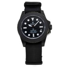 Rolex Submariner Pro-Hunter ETA 3186 Movimento Cassa In PVD Con Quadrante Nero-Nylon Strap-Vetro Zaffiro