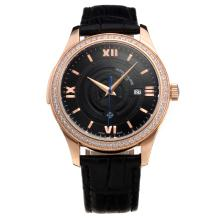 Patek Philippe Cassa In Oro Rosa Diamond Bezel Con Black Strap Dial-Leather
