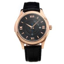 Patek Philippe Cassa In Oro Rosa Con Quadrante Grigio-Leather Strap