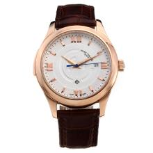 Patek Philippe Cassa In Oro Rosa Con Quadrante Bianco-Leather Strap