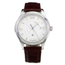 Patek Philippe Con Quadrante Bianco-Leather Strap