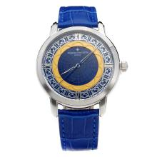 Vacheron Constantin Con Blue Strap Dial-Leather