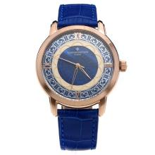 Vacheron Constantin Cassa In Oro Rosa Con Blue Strap Dial-Leather