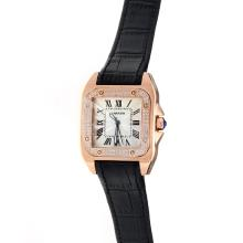 Cartier Santos 100 Rose Gold Case Diamond Bezel with White Dial-Black Leather Strap