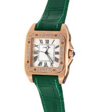 Cartier Santos 100 Rose Gold Case Diamond Bezel with White Dial-Green Leather Strap