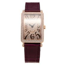 Franck Muller Long Island Rose Gold Case Diamond Bezel and Dial with Purple Leather Strap