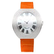 Franck Muller Conquistador Diamond Bezel with MOP Dial-Orange Leather Strap
