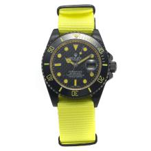 Rolex Submariner Automatic PVD Case Ceramic Bezel with Black Carbon Fibre Style Dial-Yellow Version