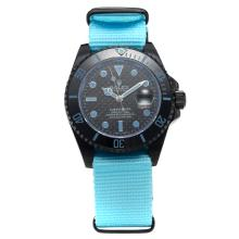 Rolex Submariner Automatic PVD Case Ceramic Bezel with Black Carbon Fibre Style Dial-Light Blue Version