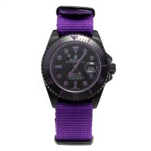 Rolex Submariner Automatic PVD Case Ceramic Bezel with Black Carbon Fibre Style Dial-Purple Version