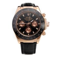 Rolex Daytona Chronograph Swiss Valjoux 7750 Movement Rose Gold Case Ceramic Bezel with Black Dial-Leather Strap