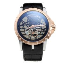 Roger Dubuis Excalibur Tourbillon Automatic Two Tone Case with Black Dial-Leather Strap