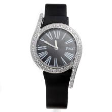 Piaget Limelight Diamond Bezel with Black Dial-Black Leather Strap