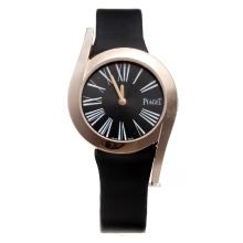 Piaget Limelight Rose Gold Case with Black Dial-Black Leather Strap