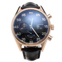 Tag Heuer Carrera Cal.1887 Working Chronograph Rose Gold Case with Black Dial-Leather Strap-3