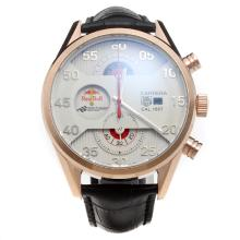Tag Heuer Carrera Cal.1887 Working Chronograph Rose Gold Case with White Dial-Leather Strap-1