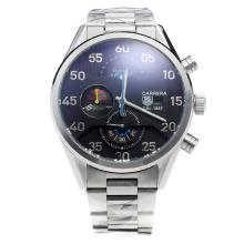 Tag Heuer Carrera Cal.1887 Working Chronograph with Black Dial S/S-Blue Hand