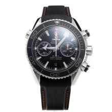 Omega Seamaster Chronograph Swiss Valjoux 7750 Movement Ceramic Bezel with Black Dial-Rubber Strap