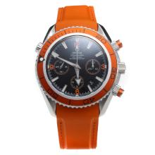Omega Seamaster Chronograph Swiss Valjoux 7750 Movement Orange Bezel with Black Dial-Rubber Strap-1